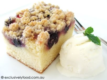 Exclusively Food Apple And Blueberry Crumble Cake Recipe