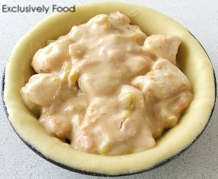 Exclusively food chicken pie recipe brush edges of shortcrust and puff pastry with water and cover pies with puff pastry lids firmly press edges of pastry together with a fork forumfinder Gallery