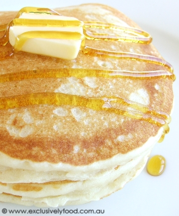 These pancakes are light, fluffy and tender. We like to serve them with