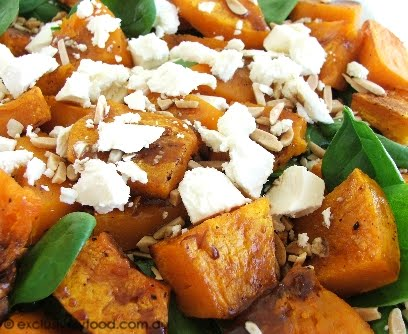 Exclusively Food: Roasted Pumpkin Salad Recipe